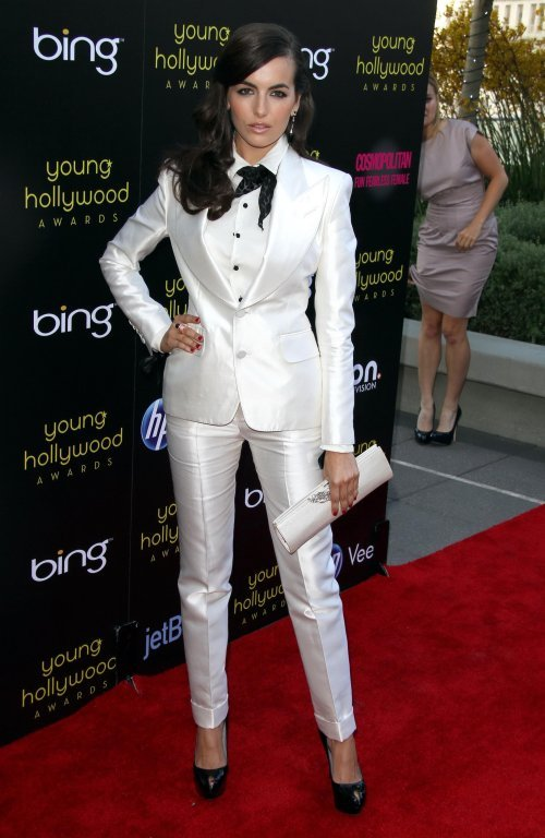 Camilla Belle looks HOT in this white Tom Ford tuxedo. LOVE IT! (via StyleBistro)