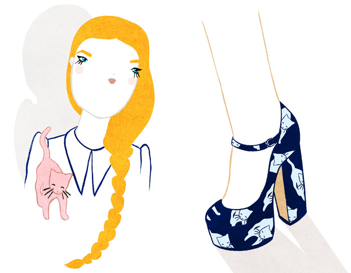 Miu Miu kitty print platform heels! (via KRISATOMIC)