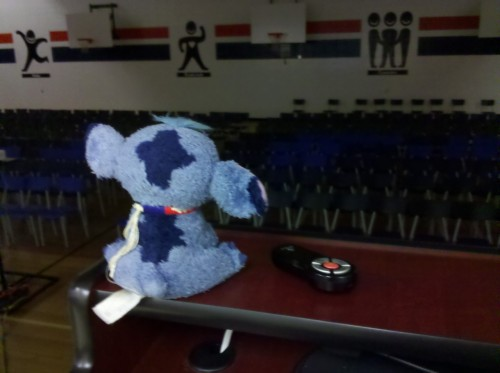 Mr. Stitch is ready for his audience to arrive!