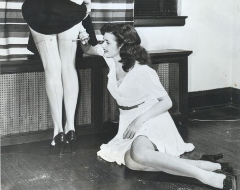 During World War II, women drew lines on the back of their legs with charcoal to give the appearance they were wearing stockings when they couldn't afford the real thing.