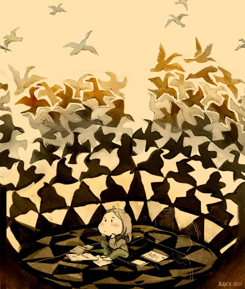 baruyon:  Daydreaming is a favourite pastime of mine. :)  (inspired by Escher's 'Liberation') H-hope you like it. <:3c