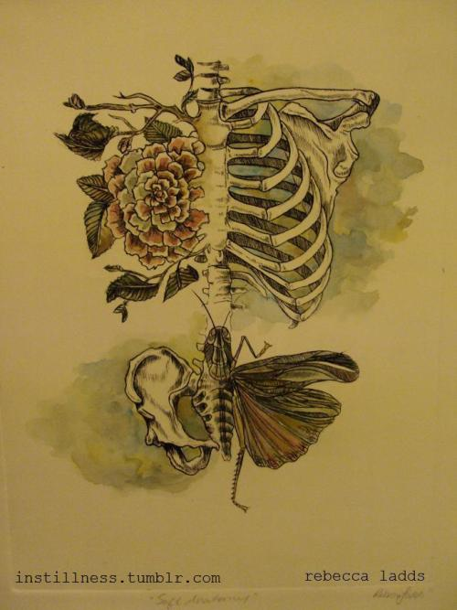 "I watercoloured another 'Soft Anatomy' Print! This is the original 10.5"" x 13.5"" large print, only 1 available! There are also 3 non-coloured ones left!Get it HERE."