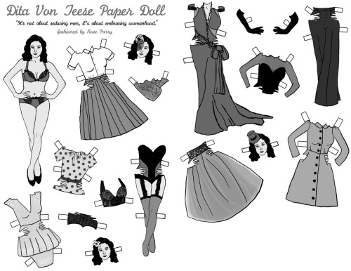 Dita Von Teese paper doll set, first semester of college.