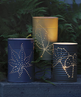 daintyloops:  Recycled Tin Lanterns. Gorgeous. (via How to Make a Recycled Tin Can Lantern - 1-800-Recycling)