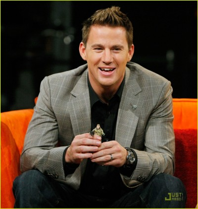 Channing Tatum holding an action figure of his character from the GI JOE: THE RISE OF COBRA movie, during an interview on FUSE TV.  (Via Getty Images)