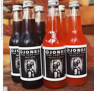 Jones Soda is my favorite soda, and they let you buy custom bottles. You could get some with your engagement photos on them for your wedding, or any event you can think of. Really nice touch.  (found here.)