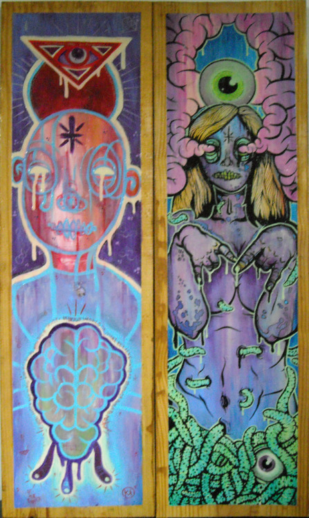 Friends of the beast. my 2 paintings, sorry for the bad pic. camera has been acting up on me.