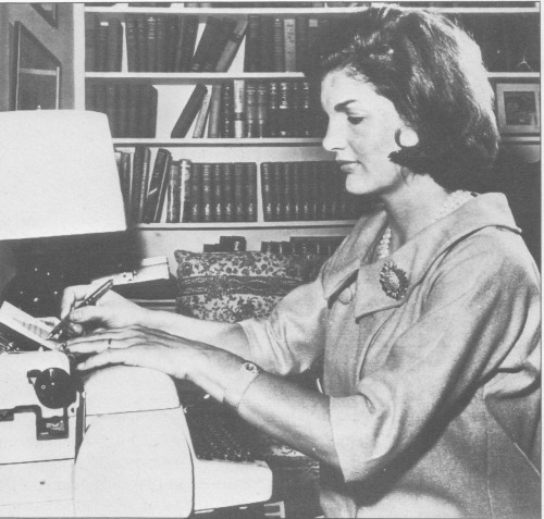 "Jacqueline Kennedy wrote a weekly article, ""Campaign Wife,"" for distribution by the Democratic National Committee. October 1960"