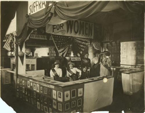 Women's suffrage booth at a Birmingham, Alabama state fair in 1914.