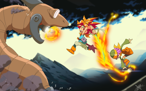 eiffelart:  Chrono Trigger Boss Illustration - Crono and Lucca vs. The Dragon Tank! Spread it around the internet a million times, if you would be so kind. If everyone on Earth saw this I would be like 87% the happiest human. Night! ♥  This is one of the most memorable moments of the game for me. Just the whole court system and breaking out before being executed and then BAM DRAGON TANK. First game over for me. I love it. But they don't know the fire sword dual tech at this point in the game…
