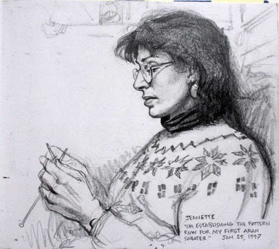 "I sketched my wife one evening when she was knitting a sweater. I like to ask people what they're thinking about when they're busy with a task. She said: ""I'm establishing the pattern row for my first Aran sweater."" Later, as the pattern started to emerge, I realized that what she was doing took a lot more concentration than doing a sketch.""I wouldn't say it takes more concentration,"" she said. ""It's a different kind of concentration."" Knitting is more mathematical and irreversible, while drawing is more fluid, and organic. James Gurney"