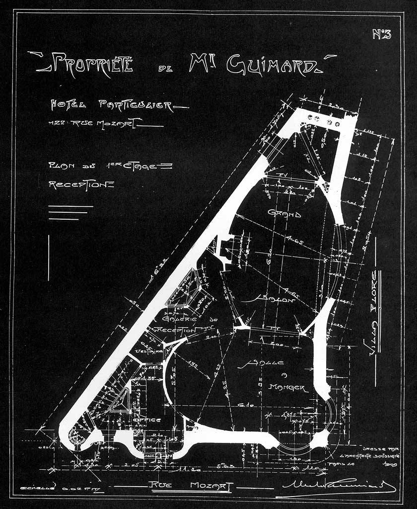 Hector Guimard's plan for his private Hotel on Rue Mozart, 1909-12, Paris