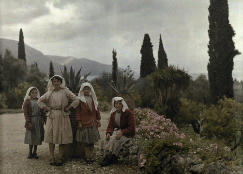 Portrait of Greek women and girls in the garden of a country home. Location:Deka, Corfu Island (Kerkira Island), Ionian Islands, Greece.Photographer:WILHELM TOBIEN/National Geographic Stock