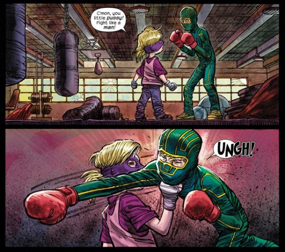Kick-Ass 2, words by Mark Millar, art by John Romita Jr., uppercut by Hit-Girl