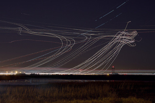 Aeroplane light painting, set here (via @mrdoob)
