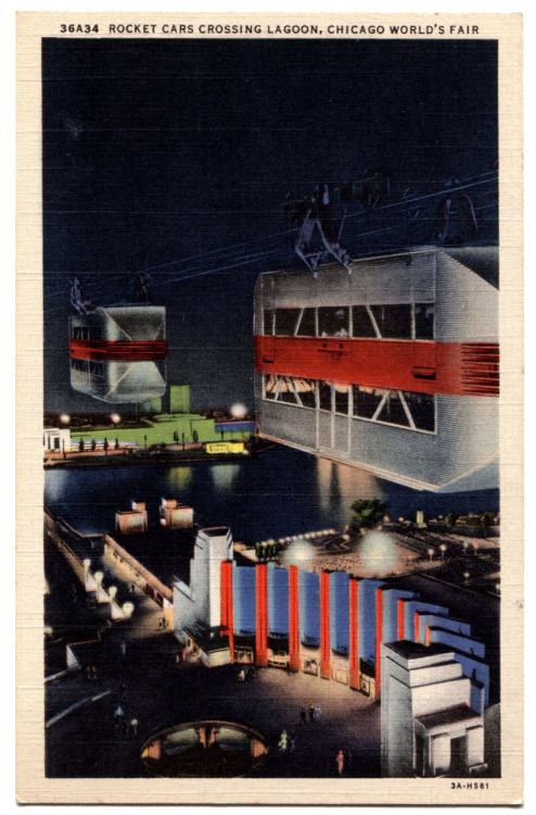 "This is a postcard of The Skyride, which was a big feature of the 1933 World's Fair.  It wasn't a tram like you see at an amusement park but was an actual bridge that these cars traveled across (the technical name is a Transport Bridge and here is a view of the full thing).  Two large towers were constructed, one located at the southeast corner of Soldier Field and the other directly east across the lagoon at the narrowest part.  As a matter of fact you can partly see in this postcard the bridge that was also constructed there, and was later torn down as well.  According to the Century of Progress guide at 628 feet the towers were the tallest structures in Chicago at that time.  Each had an observation deck at the top that gave a panoramic view of the city.  The double-decker ""rocket cars"" traveled the 1,850 feet on cables at 200+ feet above the ground.  At night the towers were lit up and had ""great searchlights that (would) sweep the sky.""  There were five companies that were behind the creation of this ride including Otis Elevator and the John A. Roebling's Sons Company, which I think it is safe to say were the designers of this bridge.   Sure wish I had a chance to see it."