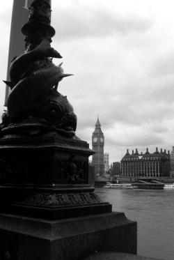 Fishy lamp post and Big Ben. London 2009, [mine]