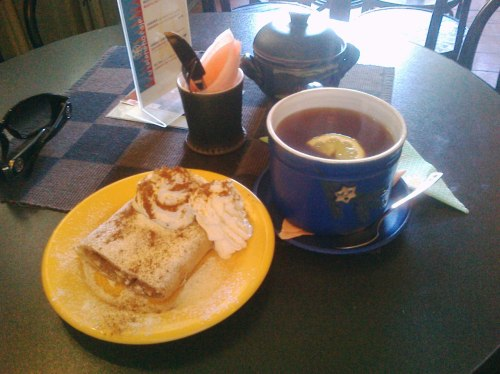 Apple-cinnamon-caramel strudel, and some heavenly elderflower tea with honey, lemon, and a shot of becherovka. Best afternoon tea ever.