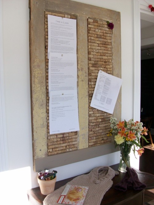 DIY Cork Board Home Made shows you how to make a cork board from wine corks and an old door.