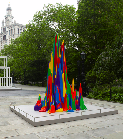 "The first outdoor exhibit of Sol LeWitt's sculptures are now on display at City Hall Park! The Public Art Fund is featuring 27 works from the artist's modular, serial, geometric and irregular structure series, spanning over 40 years called ""Sol Lewitt: Structures, 1965-2006. Sol LeWitt, an artist whose profound and radical innovations allowed us to rethink the very nature of art, first found his mature artistic voice in the three-dimensional works he called structures."
