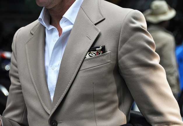 Simple with a dash of personality via the pocket square.
