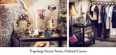 Topshop Secret Store opens TODAY Topshop is a high street marvel. Not only as a brand are they always striving to stay one step ahead of the crowd, but they always host the best events in town! This time around the flagship store in Oxford Street, London is playing host to a secret pop up store within the store. Intriguing, right? The shop is going to sell specifically created pieces and designer collaborations from the likes of Ann-Sofie Back, Meedham Kirchoff, Emma Cook, Topshop Boutique, Unique and many, many more. The only access to the shop is through a secret door, so not only will you be able to get your hands on some beautiful new gear, but you'll be able to play 'Alice' for the day too, as this'll certainly be a wonderland! The special shop is only open for two weeks, so if vintage inspired, kooky pieces are your cup of tea- head down to Oxford Circus ASAP!