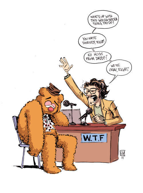 Skottie Young made some art about Marc Maron interviewing Fozzie Bear. Thanks to Splitsider for pointing it out. I used to LOVE LOVE LOVE Young's work on New X-Men. It was one of my favorite Marvel series until it was canceled after the Messiah Complex crossover. :sigh:
