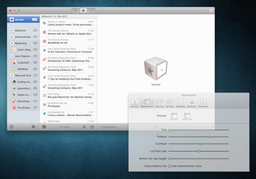 Reeder for Mac: Settings window turns semi-transparent when changing appearance settings. /via sklppr