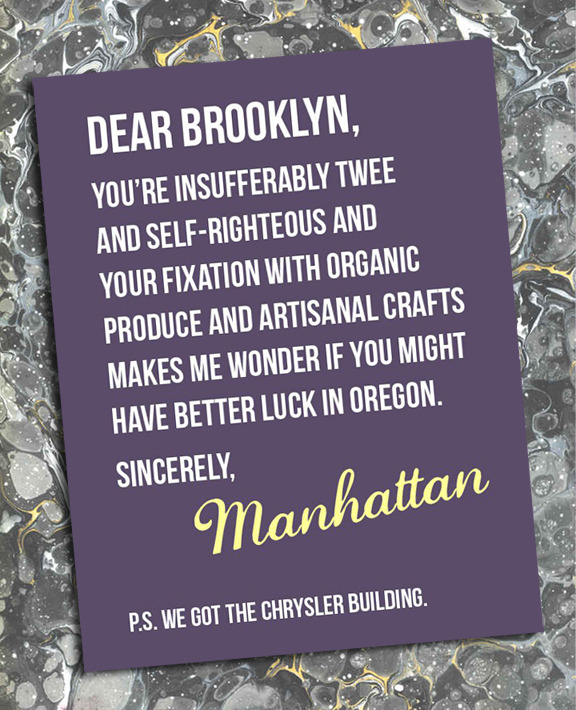 Manhattan vs. Brooklyn. Illustration by James Campbell Taylor