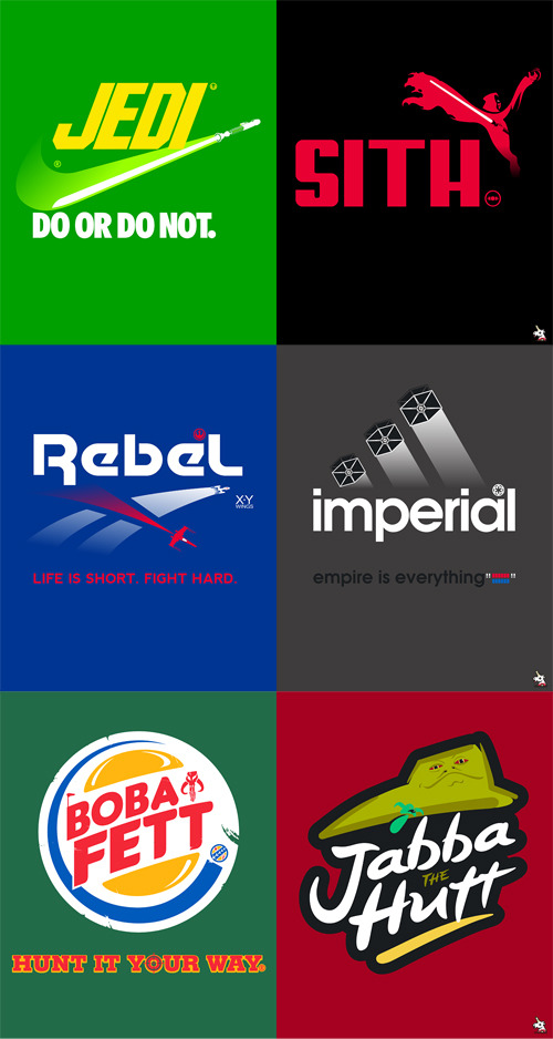 These Star Wars logo mashups by Barn Bocock are borderline orgasmic. Especially the Nike, Puma, Rebock, and ADIDAS jumpoffs. Check out a bootyload of more handsome designs over at howtocarveroastunicorn.com. [Via GeekTyrant]