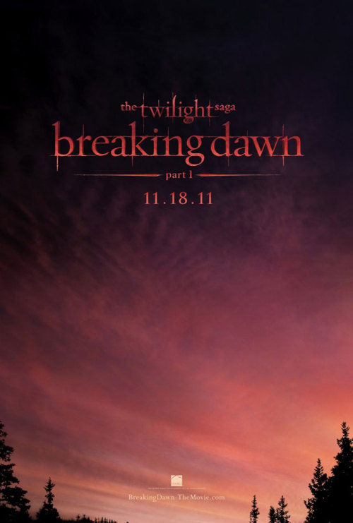 "Poster for: Breaking Dawn. Bare witness to the most innovational poster of 2011. This is probably how the brainstorming session for this masterpiece went down:  Producer 1: ""How about if we put the dumb girl and gay vampire embracing and staring at each other intensely underneath an epic-looking waterfall?""Producer 2: ""And that steroids-filled wolf kid on top of the waterfall stalking them?!""Producer 3: ""Brilliant idea men, but I have a better one. Since the film is called Breaking Dawn why not just put A BREAKING DAWN?""Producer 1: *mind literally blows*Producer 2: *jizzes his pants*All: ""BEST. IDEA. EVER!""  Oh Breaking Dawn, thank you for redefining the way posters are designed. Now I can replace my poster for The Social Network and put this modern classic instead."