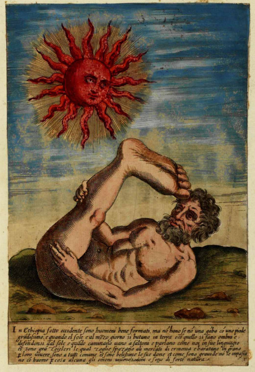 metalonmetalblog:  Ulisse Aldrovandi (1522 -1605) Monstrorum historia cum Paralipomenis historiae omnium animalium (1658),  THE SKIAPODES (or Sciapods) were a tribe of one-legged Ethiopian or Indian men who had a single giant foot which they raised in the air to shade themselves against the hot southern sun. The Skiapodes were also popular in Medieval bestiaries and map illustrations of the Terra Incognita.