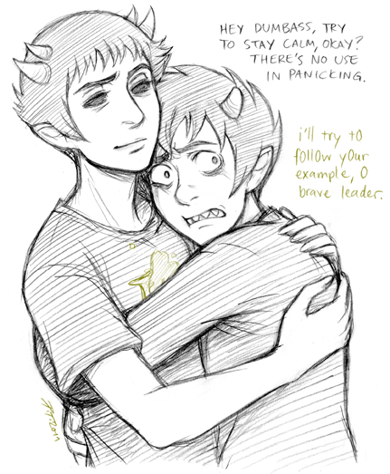 tubbsen:   secretwatsonasked: maybe, perhaps maybe, karkatxsollux being snuggly? :c   Maybe I should have drawn some happier snuggles