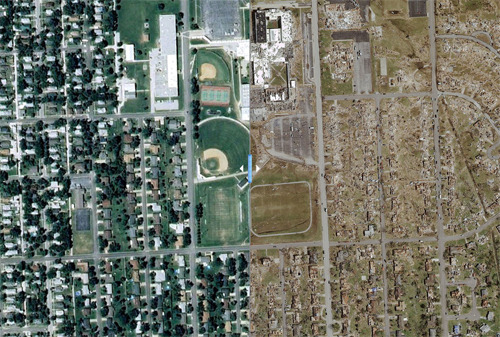 latimes:  Satellite images of Joplin, Mo., before and after the tornado.