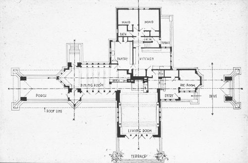 alapiseira:  Plan [162] archimaps:  Wright's plan for the Willits House, Highland Park, Illinois
