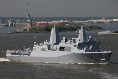 The USS New York Arrives in New York Harbor! The USS New York (LPD-21) is one of the U.S. Navy's fleet of San Antonio-class LPD (Landing Platform Dock) warships. The New York is also the seventh ship to be named after the state of New York. She has a crew of 360, and can also carry up to 700 Marines. Most notably, she was constructed with steel that was salvaged from the World Trade Center after it was destroyed in the September 11 attacks. It'll be open for tours at Pier 88 (48th Street and the West Side  Highway) starting tomorrow from 8 a.m. to 5 p.m.. This is the first time  the boat has been back to New York since it was commissioned in 2009. Photo: Michael Gratz