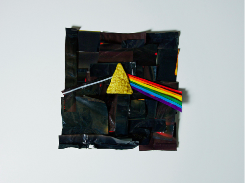 Dark Side of the Doritos Pink Floyd album cover recreated using only Doritos bags + one Dorito :) Click the photo for his Flickr page.