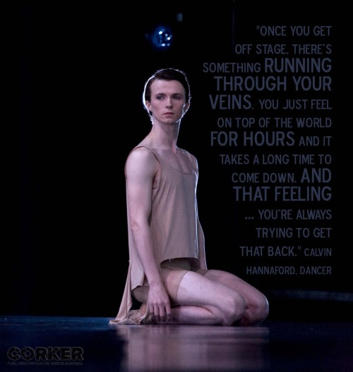 We chatted to Calvin Hannaford from The Australian Ballet, before the opening night of Bodytorque.Muses, about inspiration. Here's what he said. About losing inspiration… Calvin: When you do something you love so much, and maybe it feels like you're not improving, just go back to that feeling you first had when you originally started. And remember why you're doing it. I remember back to when I started dancing at the age of five and getting out on stage and that feeling of … I don't know … just performing, really. CORKER: Try and explain that first feeling. Calvin: Just the excitement … I don't know … It's so hard to explain. Like [Calvin pauses and takes a deep breath] once you get off stage, there's something running through your veins. You just feel on top of the world for hours and it takes a long time to come down. And that feeling … you're always trying to get that back. CORKER: It sounds like a high. Calvin: Yeah, definitely.  It's pretty awesome actually. It's very addictive. CORKER: It's better to be addicted to dancing rather than a narcotic [laughs]. Calvin: Exactly [laughs]. The Australian Ballet's Bodytorque.Muses is playing at the Sydney Theatre from Thursday, May 26. For more info, head to http://bit.ly/echeAR Photography credit: Branco Gaica