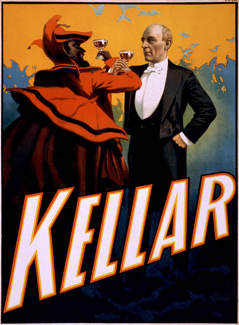 soyouthinkyoucansee:  Kellar toasts the Devil, performing arts poster, ca. 1899 by trialsanderrors on Flickr.