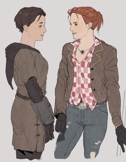 coffeeminx:  Veronica and Cass from Fallout New Vegas as drawn by Gobeur.  I have no idea what this is from, but this drawing is just absolutely GORGEOUS!!! :D