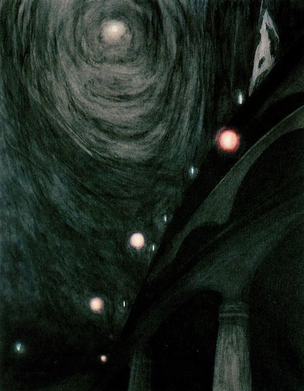 Léon Spilliaert, Clair de Lune et lumières (Moonlight and Light). c. 1909.  Pastel and ink wash, 64 x 48.5 cm. Thank you, bellswithin.