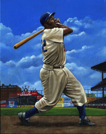 Here is an acrylic painting of the man who broke the color barrier in Major League baseball in 1947, Brooklyn Dodger, Jackie Robinson.