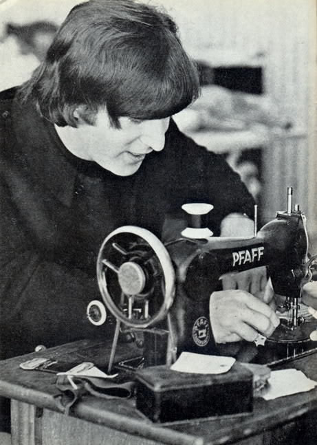 johnlennonsglasses:  onlyjohnlennon:  sewing?  Never saw this coming.  Oh my God, this is stupid adorable. Also, his hair is probably the most perfect thing to have happened up until the advent of Zachary Quinto's hair.