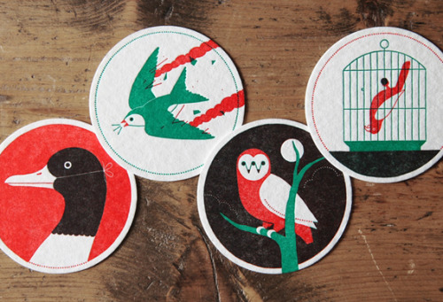 avoidence:  Ryan Todd's New Found Original letterpress coasters |  These are some really beautiful designs for coasters.