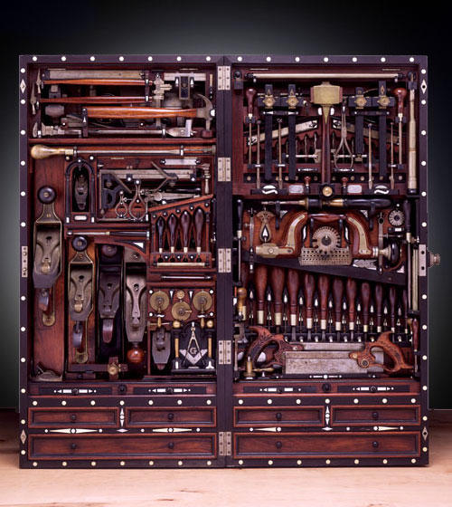 thingsorganizedneatly:  SUBMISSION: 19th century pianomaker's toolchest (source) edit: STUDLEY