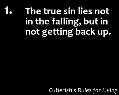 cutlerish:  1. The true sin lies not in the falling, but in not getting back up.  My cardinal rule for living. Failing or losing is perfectly acceptable. Giving up never is.  More Cutlerish's Rules for Living  It is, after all, my number one rule for living.