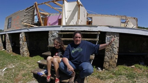 "lookhigh:  How To Survive A Tornado: Plan Ahead, Avoid Debris People who don't have a tornado shelter can still do a lot to protect themselves from flying debris, says  Harold Brooks, a research meteorologist at the National Severe Storms Laboratory. The important thing is to put as many walls as possible between you and the wind, he says. That usually means going to a closet, an interior bathroom or even a small hallway. ""Once you get in there, something like a bicycle helmet or a football helmet on your head can dramatically improve your chances of surviving without significant injury,"" Brooks says. But a lot of people don't do any of that, tornado experts say. And what they do instead can make things worse. (Read more.) What To Do During A Tornado Indoors: Move to a basement or the building's lowest possible floor. Find an interior room, hallway or stairwell – the more walls between you and the tornado, the better. Stay under a sturdy piece of furniture and protect your head. Move away from windows, and be sure to keep them closed, as high winds and dangerous debris can enter if they're opened. Outdoors: Find a ditch, depression or ravine in the ground, lie flat and cover your head. Be aware of the potential for flash floods. Watch for flying debris, as they cause the most fatalities during tornadoes. In a vehicle or mobile home: Leave your vehicle or mobile home and, if possible, enter a nearby building. If there's no building around, lie flat in a depression in the ground. Do not seek shelter under a highway overpass. If you do stay behind the wheel, don't try to outrun the tornado — drive at a 90-degree angle away from the storm. Sources: FEMA, Center for Analysis and Prediction of Storms, National Oceanic and Atmospheric Administration (via NPR) (Photo: Amy Womack and her daughter, Alexis Nelson, sit on the front steps of her parents' house in Cleveland, Tenn., in late April. - Wade Payne/AP)"