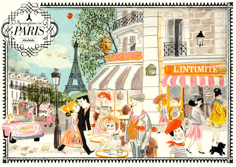 Ahh, springtime in Paris… trés charmant, n'est-ce pas?  Illustration by Illustrista.  J'adore!