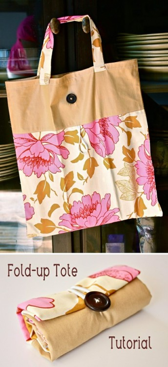 picaparticularis:  DIY Fold-Up Tote This is a great way to pack an extra bag for a trip because (if you are anything like me) you'll probably shop so much that you'll need another carry-on for the trip back. On farmers market days, this would also make a cute produce/market bag.  Here's the how-to.