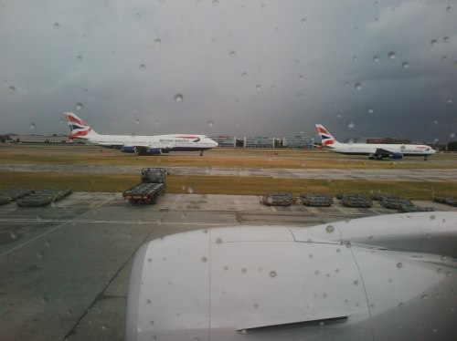 Neverending queue of misery here at LHR… 35 planes waiting, hour and a half delay.
